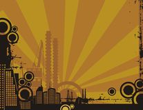 Série do fundo da cidade do por do sol Fotos de Stock Royalty Free