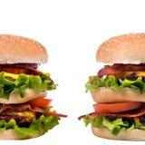 Série do Hamburger (hamburgueres gêmeos) Fotografia de Stock Royalty Free