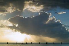Série do nascer do sol do cais de Shorncliffe imagem de stock royalty free