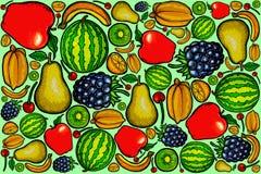 Série 2 do projeto do teste padrão dos frutos frescos ilustração do vetor