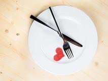 Série do restaurante, jantar do dia de são valentim no fundo de madeira Fotografia de Stock Royalty Free