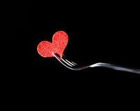 Série do restaurante, jantar do dia de são valentim no fundo preto Imagem de Stock