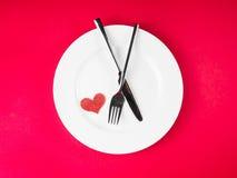 Série do restaurante, jantar do dia de são valentim no fundo vermelho Imagem de Stock Royalty Free