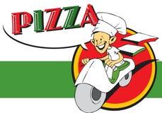 Série do trabalho - pizzaiolo e pizza Foto de Stock