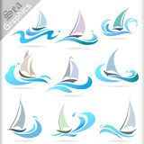 Série dos gráficos do mar - ícones superiores do curso de mar Imagens de Stock Royalty Free