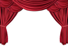 Série drapée rouge 2 de rideaux en théâtre Image libre de droits