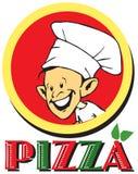 Série du travail - pizzaiolo et pizza Photographie stock