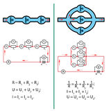 Série e circuitos paralelos Fotografia de Stock Royalty Free