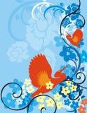 Série floral do fundo do pássaro Fotos de Stock Royalty Free