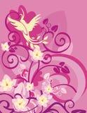 Série florale de fond d'oiseau Photographie stock libre de droits