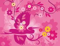 Série florale de fond d'oiseau Image libre de droits