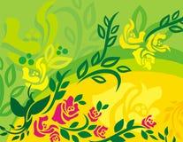 Série florale de fond d'oiseau Images libres de droits