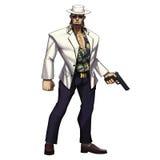 Série fraîche de caractères : Cowboy Man de bandit de Mafia avec l'arme à feu d'isolement sur le fond blanc Photos stock