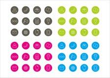 Série gráfica 3 do vetor do molde do círculo dos recursos dos ícones Imagens de Stock Royalty Free