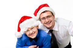 Série heureuse de Noël de famille d'isolement sur le blanc photos libres de droits