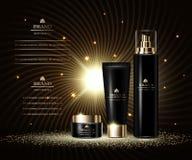 Série luxuosa da beleza dos cosméticos, creme de corpo superior e pulverizador para cuidados com a pele Molde, modelo para anúnci ilustração do vetor