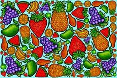Série orgânica fresca 1 do teste padrão do fruto ilustração stock