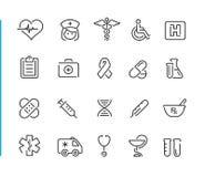 Série réglée de //Blue Line d'icône médicale Photographie stock