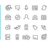 Série réglée de //Blue Line d'icône sociale de réseau Image libre de droits