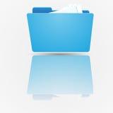 Série réglée de graphisme de dépliant Dossier bleu ouvert de norme avec des documents sur le fond du gradient Photos stock