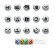 Série redonda do metal de //dos ícones da E-loja Fotos de Stock