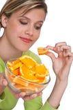 Série saine de style de vie - femme avec l'orange Photo libre de droits