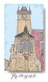 Série tirada mão de cartão ou de flayers dos convites do curso das férias com escrita caligráfica da cidade Imagens de Stock Royalty Free