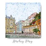 Série tirada mão de cartão ou de flayers dos convites do curso das férias com escrita caligráfica da cidade Imagem de Stock Royalty Free