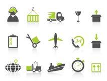 Série verde simples da logística e dos ícones do transporte Imagem de Stock