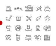 Série vermelha do ponto de //dos ícones do posto de gasolina fotos de stock