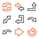 Séries dos ícones do Web das setas, as alaranjadas e as cinzentas do contorno Imagens de Stock