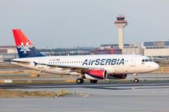 Sérvia Airbus A319-100 do ar Imagens de Stock Royalty Free