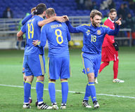 Sérvia amigável de Ucrânia v do jogo em Kharkiv Fotografia de Stock Royalty Free