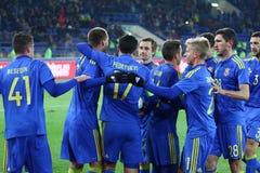 Sérvia amigável de Ucrânia v do jogo em Kharkiv Fotos de Stock Royalty Free