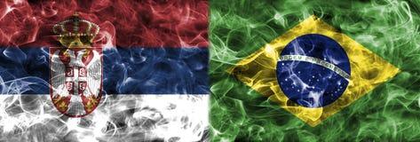 Sérvia contra a bandeira do fumo de Brasil, grupo E, campeonato do mundo 2018 do futebol, M Fotografia de Stock Royalty Free