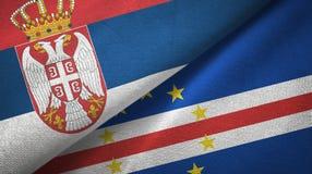 Sérvia e pano de matéria têxtil das bandeiras de Cabo Verde dois do cabo, textura da tela ilustração stock