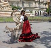 Séville, Andalousie, Espagne, le 27 mai 2019, fille sur le flamenco de danse de rue, danseur de flamenco photos stock