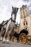 Séville - chariot de touristes de cheval photos stock