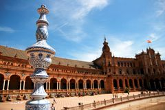 Séville, grand dos de palais de Plaza de Espana. l'Espagne Photo stock