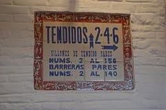 Séville - intérieur - signe carrelé de détail - la La Real Maestranza de CaballerÃa De Séville de toros de plaza photos libres de droits