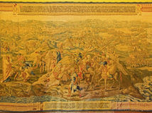 Séville - le gobelin avec la guerre tunisienne pendant l'année 1535 dans le palais gothique dans l'Alcazar de Séville par l'auteu Photo stock
