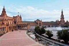 Séville, vue d'ensemble de Plaza de Espana en Espagne Photos stock