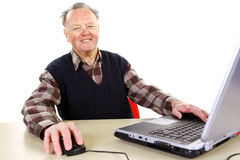 Sênior com computador foto de stock