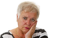 Sênior fêmea triste Foto de Stock Royalty Free