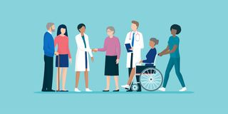 Sêniores com a equipe de cuidadors e de doutores profissionais ilustração royalty free