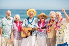 Sêniores que cantam e que jogam a guitarra Imagens de Stock