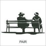 Sêniores que sentam-se em um banco ilustração do vetor
