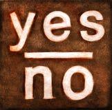 Sì & nessun parole su tela di canapa strutturata Fotografie Stock Libere da Diritti