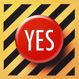 Sì bottone nel rosso fotografia stock libera da diritti