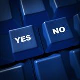 Sì di no tasti di scelta di opinione di decisione forse Fotografia Stock Libera da Diritti